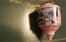 Thomas Kinkade Bradford Edition Heirloom Glass Ornament Home for Christmas Pink
