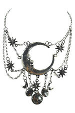 Celestial Goth Crescent Moon Face and Stars Sleepless Nights Silver Necklace