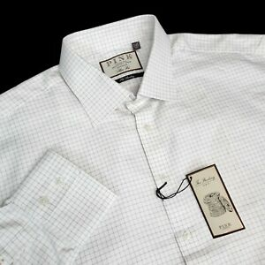 Thomas Pink Mens 17.5-35.5 Slim Fit $185 Herringbone White Check Dress Shirt