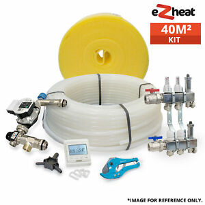 40m2 Water Underfloor Heating Kit Complete with 2 Port Manifold Pipe Thermostat