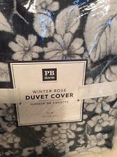 Pottery Barn Teen Winter Rose Duvet Cover Twin NWT! Charcoal Gray 100% Cotton