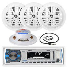 "Black 4"" Marine 100W Speakers, Antenna, Pyle White AM FM AUX USB Marine Radio"
