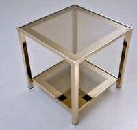 BELGO Chrome Vintage mid century Coffee side table gold gilt smoked glass n2