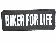 """BIKER FOR LIFE Hog Chopper Motorbike Iron On Embroidered Badge Patch 4.2""""x1.6"""""""