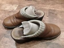 UGG gael wedges clogs open back leather chestnut brown size 8 shearling uggs