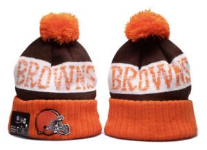 Cleveland Browns NFL Football Beanie Warm Winter Knit Pom Cap Hat Fleece lined