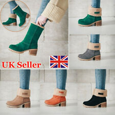 Womens Winter Snow Warm Boots Fur Comfy Casual Mid Calf Foldable Lady Shoes Size