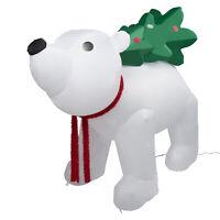 6 Ft long Inflatable Christmas Polar Bear Holding Tree Decor LED Lighted Outdoor