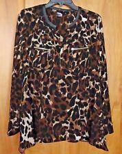 Womens RAFAELLA Animal Print Dressy Career Blouse Shirt Top Sz S Zip Pockets NEW