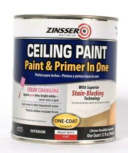 1 Can Zinsser 32 Oz Ceiling Paint & Primer In One Color Change Bright White Flat