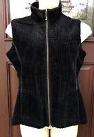 Woolrich Soft Black Cotton Wide Wale Corduroy Full Zip Vest Jacket Womens Sz M