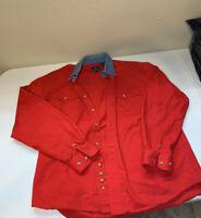 Roper Western Mens Long Sleeve Button Shirt Red/ Denim Collar Sz M