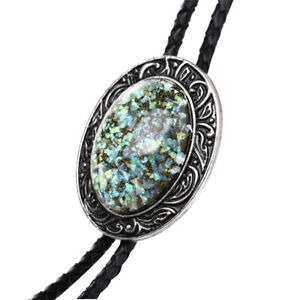 """Mens Bolo Tie Hobit Opal Stone Wedding Necklace 38"""" Leather Rope Western Cowboy"""