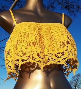 Dandelion Yellow Crochet Tank Top Pimkie Collection Casual Summer festival/boho