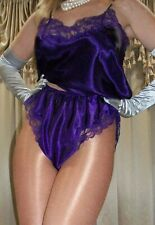 Vtg Purple Camisole Top French High Cut Satin Lace Slip on Tap Panty Panties M