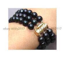 New Aaa+3Row 7.5 Inch 7-8Mm Tahitian Black Pearl Bracelet