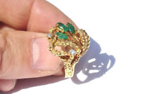 (1/2 carat) Marquise EMERALD and Diamond  Antique RING - 14K Yellow GOLD