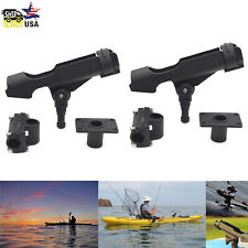 2Pcs Adjustable Side Rail Mount Kayak Boat Fishing Pole Rod Holder Tackle Kit Us