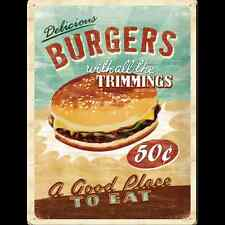 Targa in Latta Vintage Burgers 30x40 in metallo stampato