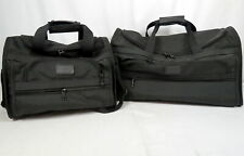 "Lot 2 Tumi Alpha Sport Duffle Carry-On Bags Black Nylon Leather Accent 22"" & 15"""