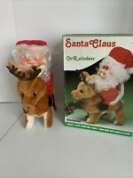 Vtg Musical Santa Claus on Reindeer Christmas Figure Lighted Decoration Animated