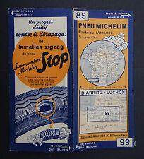 Carte MICHELIN n°85 old map BIARRITZ LUCHON 1932 Bibendum pneu tyre