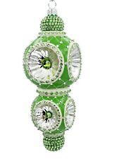 New ListingPatricia Breen Majestic Reflector Ornament Green Silver Christmas Tree Jeweled