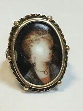 Lovely presto Vittoriano Antico Ritratto Oro Giallo 9 KT su anello di porcellana