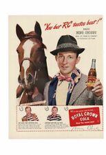 VINTAGE 1945 ROYAL CROWN RC COLA DRINK BING CROSBY ROAD TO UTOPIA HORSE AD PRINT