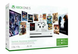 Microsoft Xbox One S 1TB Starter Bundle with 4K Ultra HD Blu-ray White Console