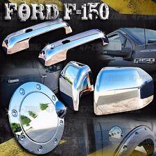 For Ford F150 Chrome Door Handle Fuel Door Side Mirror Cover Combo Overlay Trim