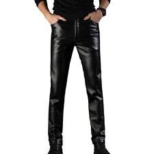Hommes Doublure Polaire Simili Cuir Motard Pantalon Effet Mouillé Coupe Slim