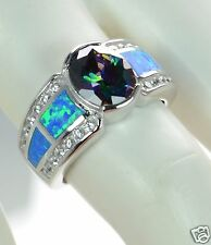 Solid 925 Sterling Silver CZ Opal w/ Large Center Mystic CZ Ring Size 9 '