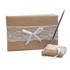 Wedding Guest Book & Pen Set - Rustic Burlap & Lace Design - Decoration