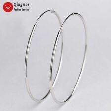 Trendy 35mm Sterling Silver S925 Circle Hoop Earrings for Woman Fine Jewelry-570