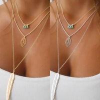 Frauen mehrschichtige unregelmäßige Silberne Feder Blatt Anhänger Halskette Mode