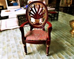 Dollhouse 1:12 Scale RARE Artisan Upholstered Arm Chair