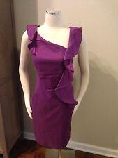 Suzi Chin for Maggy Boutique Purple Ruffle Sheath Dress 10 Excellent Stretch