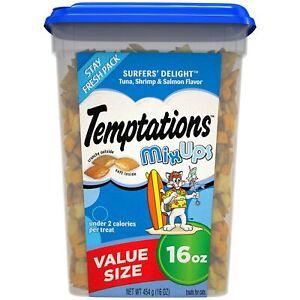 TEMPTATIONS MixUps Crunchy and Soft Cat Treats, 16 oz. Tuna, Shrimp, Salmon