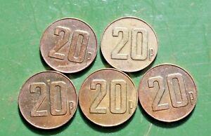 5 x 20p Brass Tokens Gaming Coin Deith Leisure Token