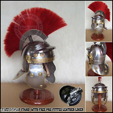 Medieval Roman Centurion Armour Helmet W/ Red Plume & Free Stand Re-enactment