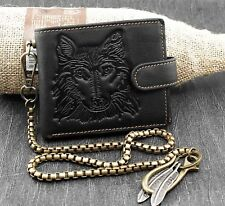Wolf Mens Snap Coin Card Holder Leathr Wallet With Keychain W79B