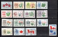 CANADA'S PROV. FLOWERS & COATS-OF-ARMS SET OF (14 + 2) USED STAMPS,UC#417/429A