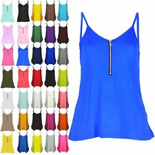 Womens Plain Flared Swing Vest Front Zip Cami Dress Strappy Ladies Top Plus Size