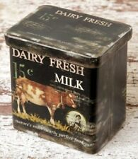 DAIRY FRESH MILK TIN Canister Can Box Primitive Country Farm Decor Vintage style