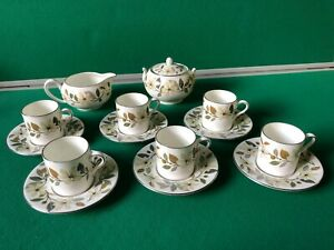 wedgwood vintage 14 piece beaconsfield coffee set bone china made in england