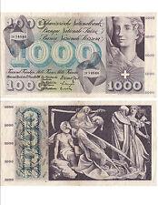 SUISSE SWITZERLAND SWISS SCHWEIZ 1000 Frs 22-12-1960 trés rare état voir scan