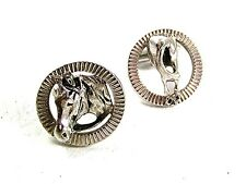 Vintage Silver Tone Horse Head & Its Behind Funny Theme Cufflinks 12617