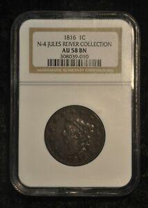 1816 Matron Head Large Cent N-4 Jules Reiver Collection AU58 BN Coronet Head