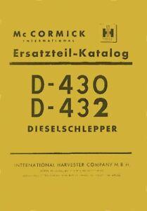 Ersatzteilkatalog D-430 D-432 Mc Cormick IHC D-Serie
